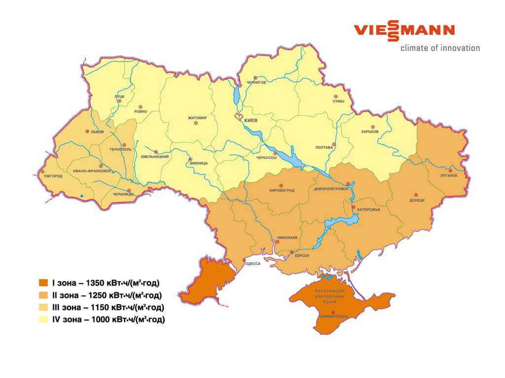 зоны Украины по солнечному излучению
