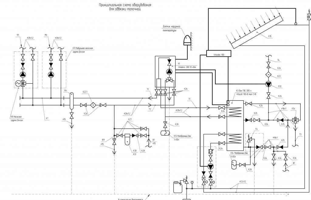 Схема проекта системы отопления с газовым конденсационным котлом